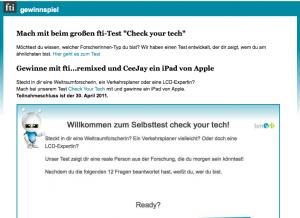 Screenshot vom iPad-Gewinnspiel auf www.fti-remixed.at