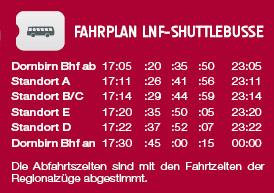 Timetable Shuttlebus in Dornbirn