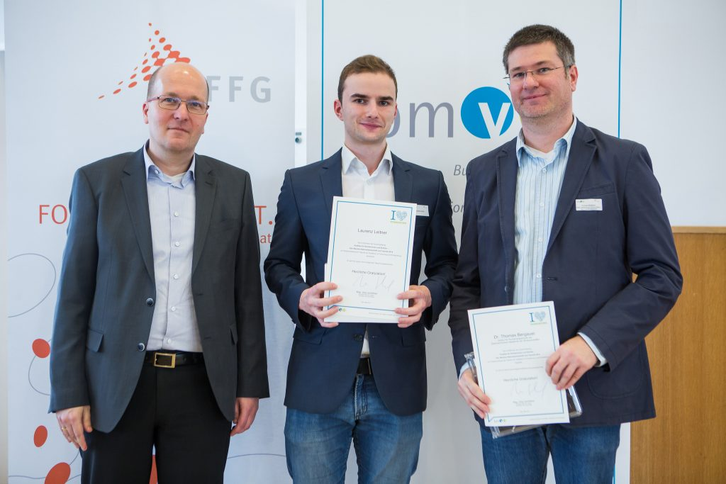 Laurenz Leitner: bei der Preisverleihung mit Herrn Thomas Bergauer sowie bmvit (Dr. Rupert Pichler)