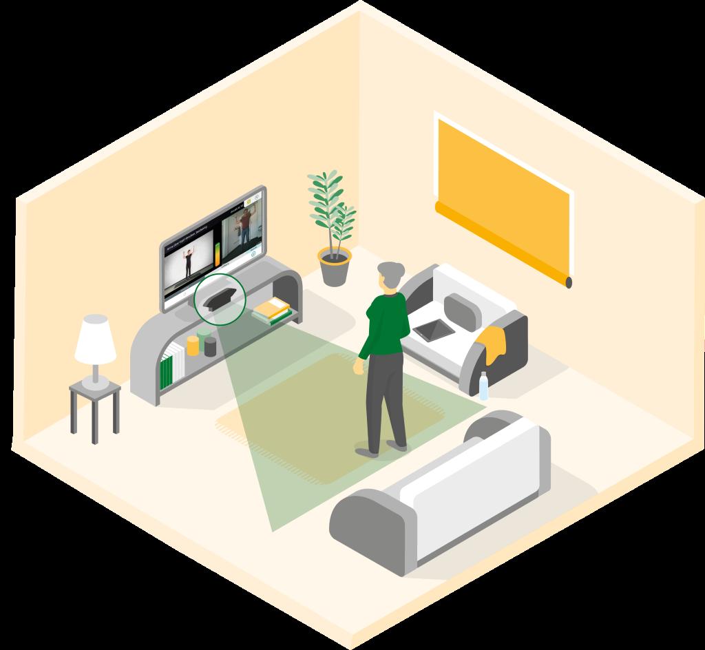 """Screenshot der App """"Fit mit Ilse"""": Man sieht eine ältere Person, mit grünen Pullover, die vor dem Fernseher steht und den Fitnessübungen im Fernseher zusieht."""