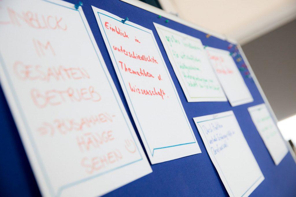 Vorteile eines Praktikums - auf Flipchart geschrieben Einblick im gesamten Betreib (Zusammenhänge sehen), quelle: ftiremixed (BMK)