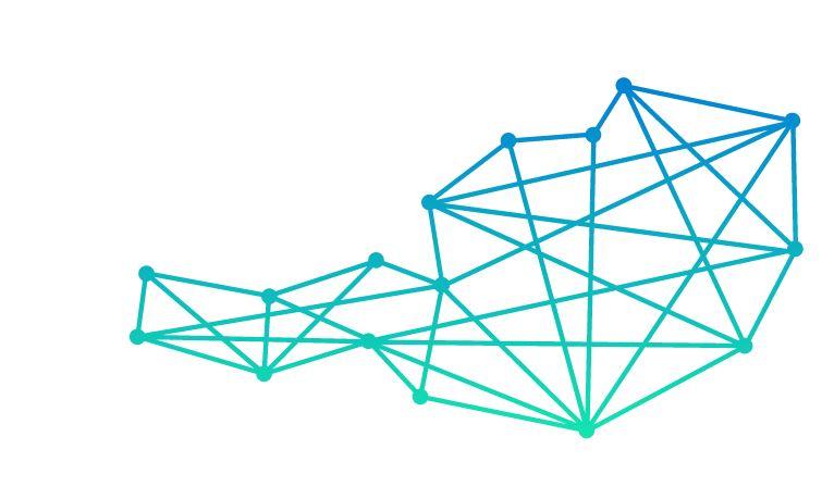 Logo Bundeswettbewerb Künstliche Intelligenz (KI) , Österreich wird hier als Netzwerk dargestellt das überall miteinander verbunden ist.